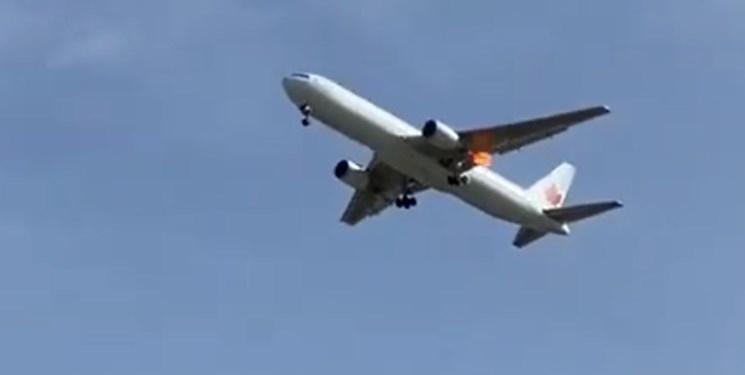 فرود اضطراری هواپیمای کانادایی در مادرید درپی آتش سوزی موتور